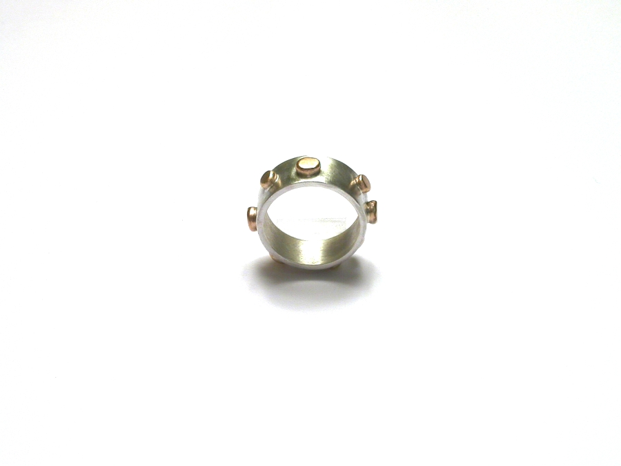 silver band & gold dot ring   $245.00   item 07-222