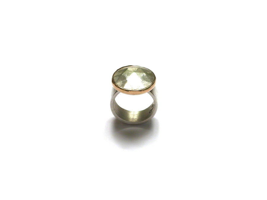 large faceted silver round 'gem' with gold bezel ring   $280.00   item 07-238