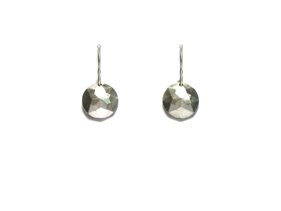 silver multifaceted circle 'gem' earrings   $95.00   item 07-247