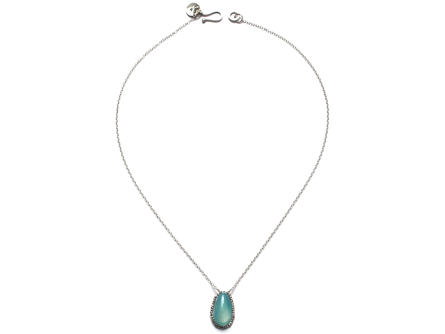 smooth chalcedony drop & woven silver bead pendant   $125.00   item 10-102