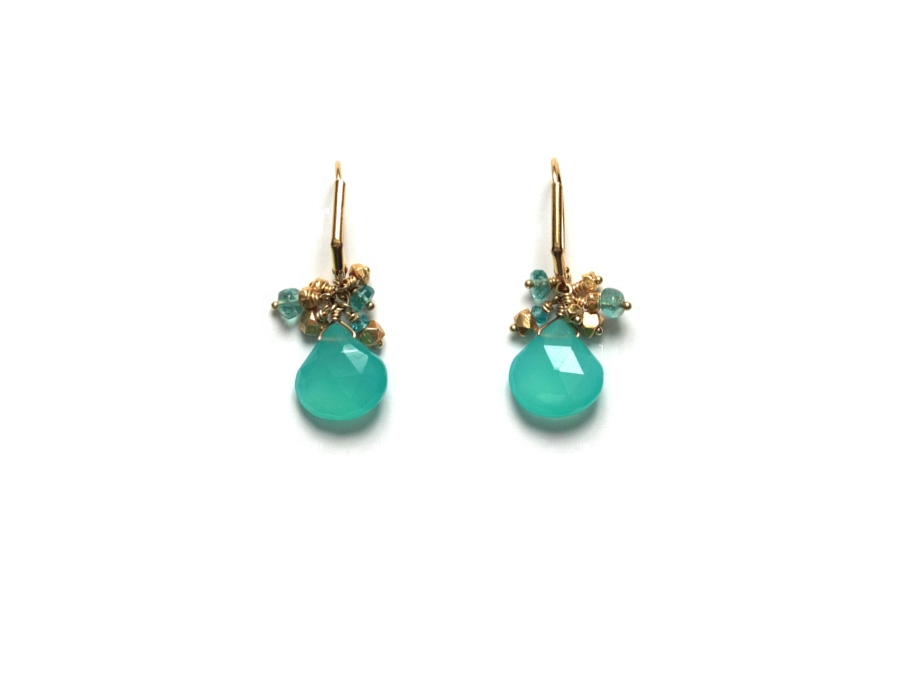 vermeil, apatite & chalcedony cluster briolette earrings   $95.00   item 10-141