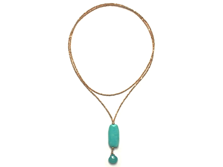 30 inch gold-plated crystal 'charlotte' bead, chalcedony & peruvian opal nugget neckpiece with 10k gold mini-niggets   $220.00   item 10-146