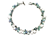 mixed blues & silver disc charm neckpiece   $695.00   item 03-057