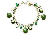 gold & greens charm bracelet   $295.00   item 03-069