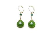emerald & jade briolette earrings   $95.00   item 03-070
