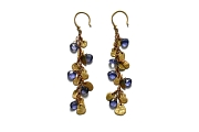 gold mini-disc & iolite briolette earrings   $695.00   item 04-163
