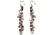 silver mini-disc, amethyst, pink tourmaline, garnet & iolite charm earrings   $260.00   item 04-173