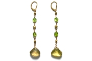 gold mini-nugget & peridot earrings with lemon quartz briolettes   $295.00   item 04-181