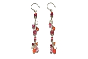 silver mini-disc, ruby, fire opal, pink tourmaline, spessertine garnet, rhodonite & pink zircon gypsy earrings   $195.00   item 04-403