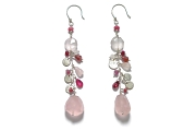 silver mini-disc, rhodonite, rose quartz, pink tourmaline & ruby gypsy earrings   $220.00   item 04-409