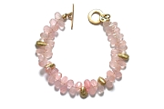 gold drop & rose quartz briolette bracelet   $395.00   item 04-410