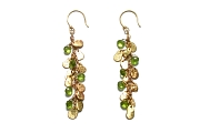 gold mini-disc & peridot briolette earrings   $695.00   item 04-413