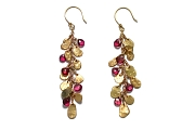 gold mini-disc & pink tourmaline briolette charm earrings   $695.00   item 04-414