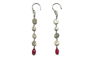 silver mini-disc & pink tourmaline briolette earrings   $120.00   item 04-415