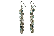 silver mini-disc, apatite & aquamarine charm earrings   $275.00   item 04-419