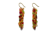 'citrus' peridot, citrine, spessertine garnet & pink tourmaline on gold extra long cluster earrings   $295.00   item 04-421