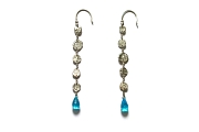 silver mini-disc & blue zircon briolette earrings   $120.00   item 04-427