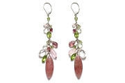 muscovite, pink aquamarine, rose quartz, pink tourmaline, prehnite & peridot 'gypsy' earrings   $240.00   item 05-019