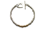 silver mini-nugget with gold mini-nugget line bracelet   $395.00   item 05-026