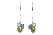 triple chalcedony briolette & amazonite dangle earrings   $125.00   item 05-059
