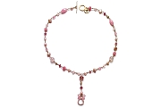pink aquamarine, freshwater pearl, pink jade, pink chalcedony, rose quartz, gold mini-nugget & pink tourmaline Y neckpiece   $380.00   item 05-132
