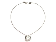 oval rock crystal faceted pendant on silver chain   $110.00   item 06-241