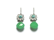 chrysophase, turquoise & silver indian flower earrings   $195.00   item 07-101
