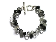 onyx, rock crystal & tourmalated quartz briolette bracelet   $190.00   item 07-133