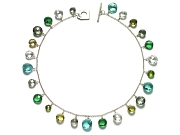 green amethyst, peridot, rock crystal, hydrothermal quartz & lemon quartz coin briolette neckpiece   $325.00   item 07-147