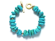 'pilot mountain' turquoise & 10K gold mini-nugget bracelet   $260.00   item 07-149