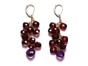 garnet & amethyst 'ascher cut' cluster earrings   $220.00   item 07-219