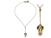 gold pear & green cz 'Y' neckpiece   $275.00   item 07-223