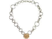 silver interlink & extra-large 10K gold disc neckpiece   $495.00   item 07-227