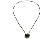 gold mini-nugget, kyanite & smoky quartz 24 inch neckpiece   $575.00   item 07-228