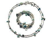quintuple wrap blues, aquas & silver 'woven' bracelet (also a neckpiece)   $340.00   item 10-100