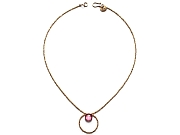 24k gold-plated crystal 'charlotte' bead & pink quartz neckpiece (solid 10k gold clasp)   $160.00   item 10-104
