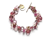 mixed pinks & vermeil 'cluster' briolette bracelet with 10k gold clasp   $395.00   item 10-108