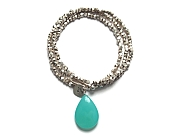 triple-wrap silver faceted bead & large smooth aqua chalcedony briolette bracelet (also a neckpiece)   $195.00   item 10-118