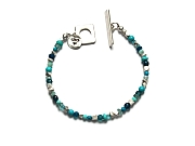 mixed blues & silver rondelle bracelet   $130.00   item 10-119