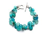 mixed blues & silver cluster briolette bracelet   $340.00   item 10-120