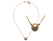 gold plated & brushed silver 'sunburst' dome pendant neckpiece   $175.00   item 10-139