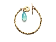 vermeil & smooth aqua chalcedony briolette bracelet with 10k gold clasp   $260.00   item 10-142