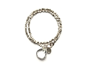 double wrap silver bead & rock crystal briolette bracelet   $160.00   item 10-148